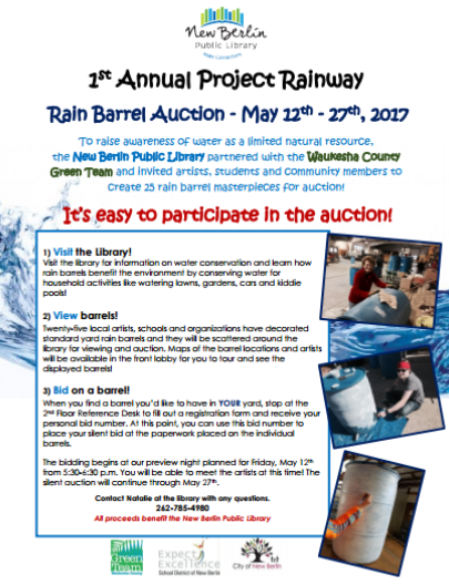 Project Rainway Rain Barrel Auction Flyer